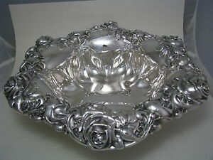 Redlich Sterling Silver Bowl Dish Magnificent Roses By Redlich