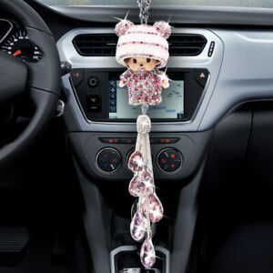 Diamond Crystal Pink Doll Rear View Mirror Car Pendant Hanging Decor Accessorie