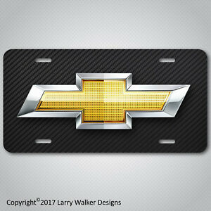 Chevy Bowtie Aluminum License Plate Tag Simulated Carbon Fiber New