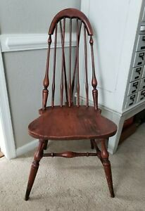 Rare Windsor Side Chair Tapered Brace Comb Painted Primitive Antique Rustic