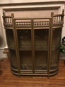 Antique Ball Stick Curio Cabinet Wall Or Tabletop Curved Glass