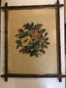 Antique Needlepoint Picture In Adirondack Frame Large 20 X26
