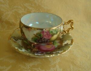 Royal Sealy China Porcelain Cup Saucer Pierced Fruit Pattern Lusterware