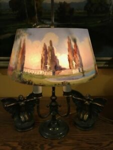 Pairpoint Arts Crafts Reverse Painted Antique Lamp Handel Bradley Hubbar Era