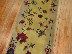 Antique Chinese Art Deco Rug Runner Size 2 3 X7 10