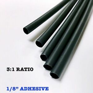 500 6 Pieces 1 8 3 2mm Black 3 1 Heat Shrink Tubing Adhesive Lined Dual Wall