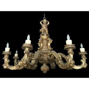 Hand Carved Wood Cherub Chandelier