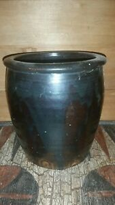 Antique Stoneware Apple Butter Crock Albany Slip Finger Hold Marks And Thumb