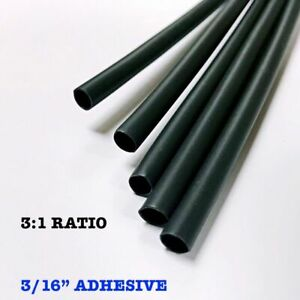300 6 Pieces 3 16 4 8mm Black 3 1 Heat Shrink Tubing Adhesive Lined Dual Wall
