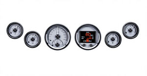 Dakota Digital Universal Round 3 3 8 2 1 16 Silver Alloy Hdx Led Analog Gauges