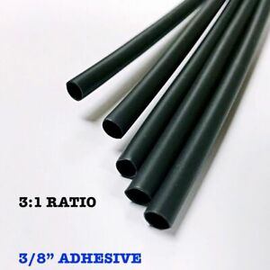 100 6 Pieces 3 8 9 5mm Black 3 1 Heat Shrink Tubing Adhesive Lined Dual Wall