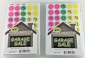 Self Adhesive Neon Color Garage Sale Price Stickers 2pks 800 Stickers