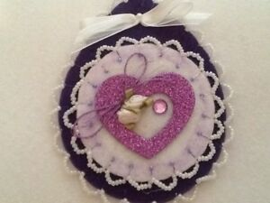 Valentines Day Decorations Ornaments Winter Purple Heart Beaded Flowers
