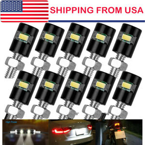 10x White Motorcycle Screw Smd Led Bolt Lamp Car Universal License Plate Light