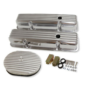 For 58 86 Sbc Chevy 350 Finned Aluminum Valve Covers Air Cleaner Dress Up Kit
