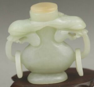 Chinese Old Natural Hetian Jade Hand Carved Statue Dragon Snuff Bottle 2 1 Inch