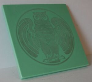 C 1920 S 1930 S Vitrolite Building Tile Or Table Top Art Deco Etched Owl Design