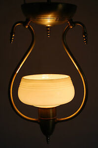 Art Deco Machine Age Light Fixture Single Czech Custard Glass Shade