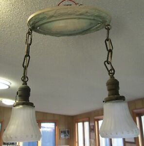 Vintage Art Deco Flush Mount Ceiling 2 Light Brass Fixture Chandelier