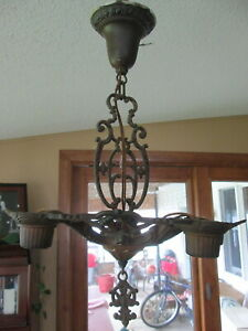 Vintage Art Deco Nouveau Gilt Ceiling 5 Light Cast Iron Chandelier