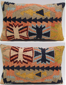 Home Decorative Turkish Kilim Pillow Hand Woven Geometric Rectangle Rug 24 X18