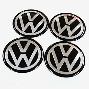 New 4pcs Volkswagen 56mm Car Wheel Center Hub Cap Emblem Sticker Fits Vw Black