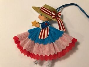 4th Of July Decorations Uncle Sam Paper Doll Ornaments Feather Tree Item J6
