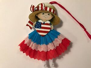 4th Of July Decorations Uncle Sam Paper Doll Ornaments Feather Tree Item J4