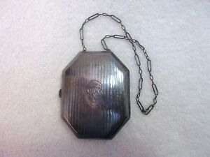 Antique Sterling Silver Card Case Leather Interior Chain Octagon Mono