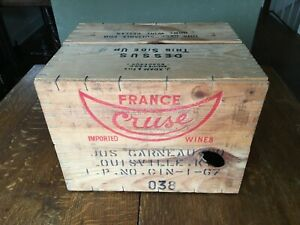Vintage Cruse France 1970 Wooden 2 Piece Wine Shipping Crate 1969 Chablis