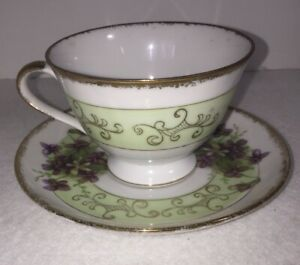 Vintage Tea Cup And Saucer Purple Violets E 3966 With Gold Trim And Pale Green