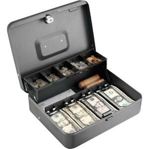 Steelmaster Tiered Tray Cash Box Secure Cam Keylock With 2 Keys Gray