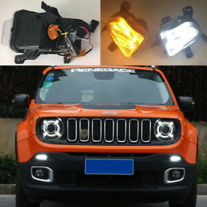 Led Drl Turn Indicator Signal Daytime Running Fog Lights Fit For Jeep Renegade