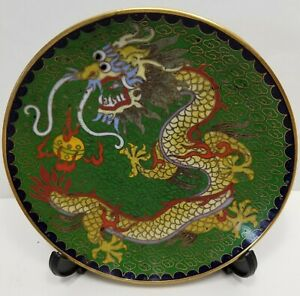19th Century Chinese Cloisonn And Gilt Brass Dragon Plate Qing Dynasty