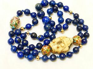 Vintage Chinese 14k Gold Lapis Beads Necklace Signed Pendant 28 Long No Clasp