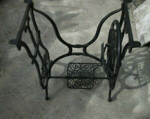 Antique Domestic Cast Iron Treadle Sewing Machine Base Stand Table Shabby Chic