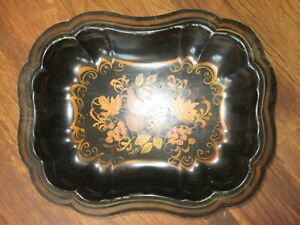 Vintage Chinoiserie Black Tole Painted Deep Serving Tray 13l X10 1 4w X 2 1 2 D