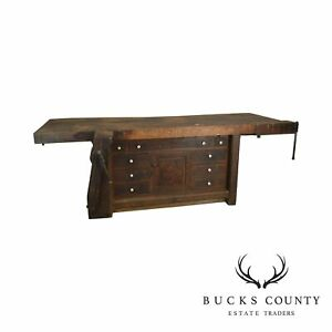 Antique Mixed Woods Carpenters Work Bench C S Jones