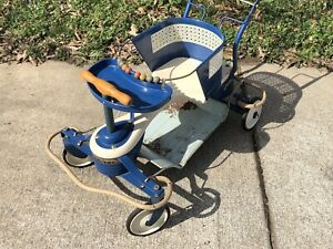 Vintage 1950s Taylor Tot Blue White Metal Wood Baby Stroller Walker
