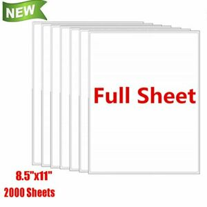 2000 Full Sheet Shipping Address Labels 8 5 x11 Self Adhesive For Laser Ink Jet