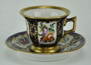 Sevres Antique Cobalt Blue Cup And Saucer With Flower Design Cup 2 Bi Mk 180222