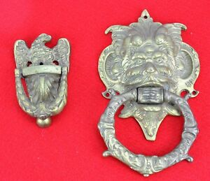Pair Of Vintage Brass Bronze Door Knockers Eagle And Lion Bi Mk 180618