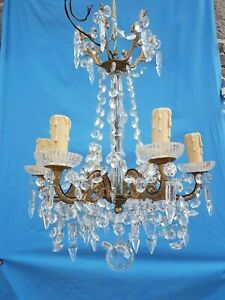 Antique French Gorgeous Bronze And Crystal Chandelier Attributed To Baccarat 19t