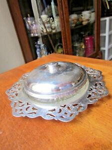 Vintage Electro Plated Copper Viking Butter Dish With Lid Glass Plate