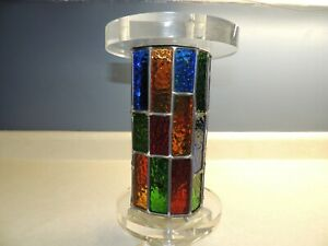 Mid Century Modern Stained Glass Acrylic Art Sculpture Lamp