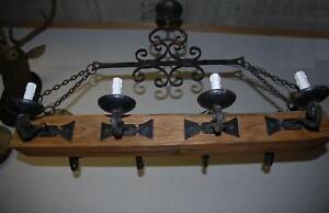 Large Wood Wrought Iron 8 Light Castle Chandelier