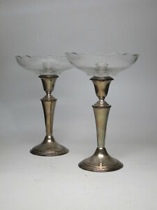 Vtg Gorham Sterling Silver Candle Sticks Holder 7 5 Pair Compote Glass Inserts