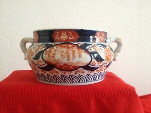 Lrge Late 19 To Early 20th Cent Japanese Imari Porcelain Incense Burner Handles