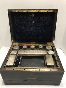 Antique 1800 S Dressing Case Vanity Box Calamander Ht Sterling Silver Glass Jars