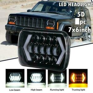 7x6 5x7 Cree Led Headlight Projector Hi lo Beam Halo Drl For Jeep Cherokee Xj